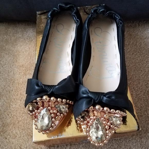 598c817a0410c Black jewelled ballerina flats 23.5cm